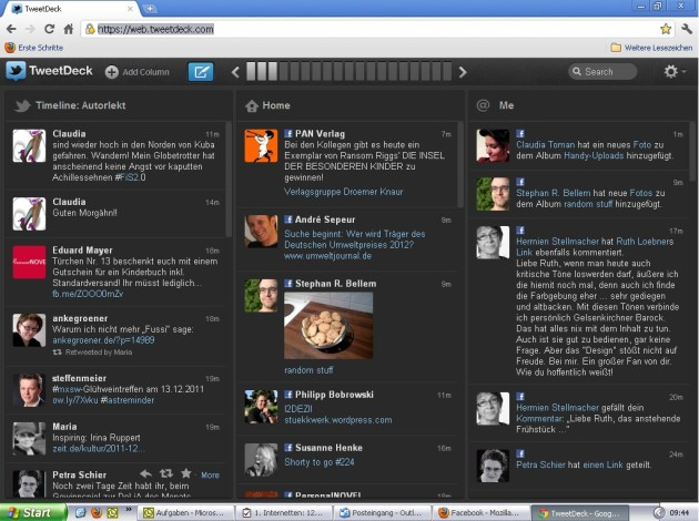 Screenshot von TweetDeck